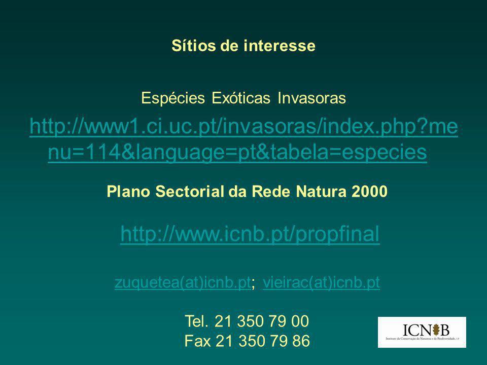 Sítios de interesse Espécies Exóticas Invasoras http://www1.ci.uc.pt/invasoras/index.php?me nu=114&language=pt&tabela=especies Plano Sectorial da Rede