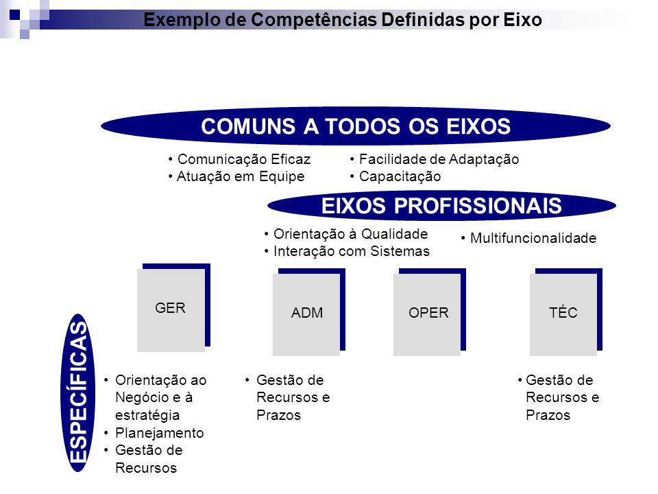 COMUNS A TODOS OS EIXOS GER ADMOPERTÉC Comunicação Eficaz Atuação em Equipe Orientação ao Negócio e à estratégia Planejamento Gestão de Recursos Gestã
