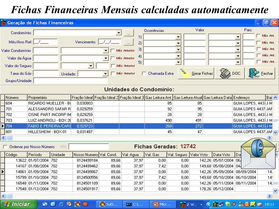 Fichas Financeiras Mensais calculadas automaticamente