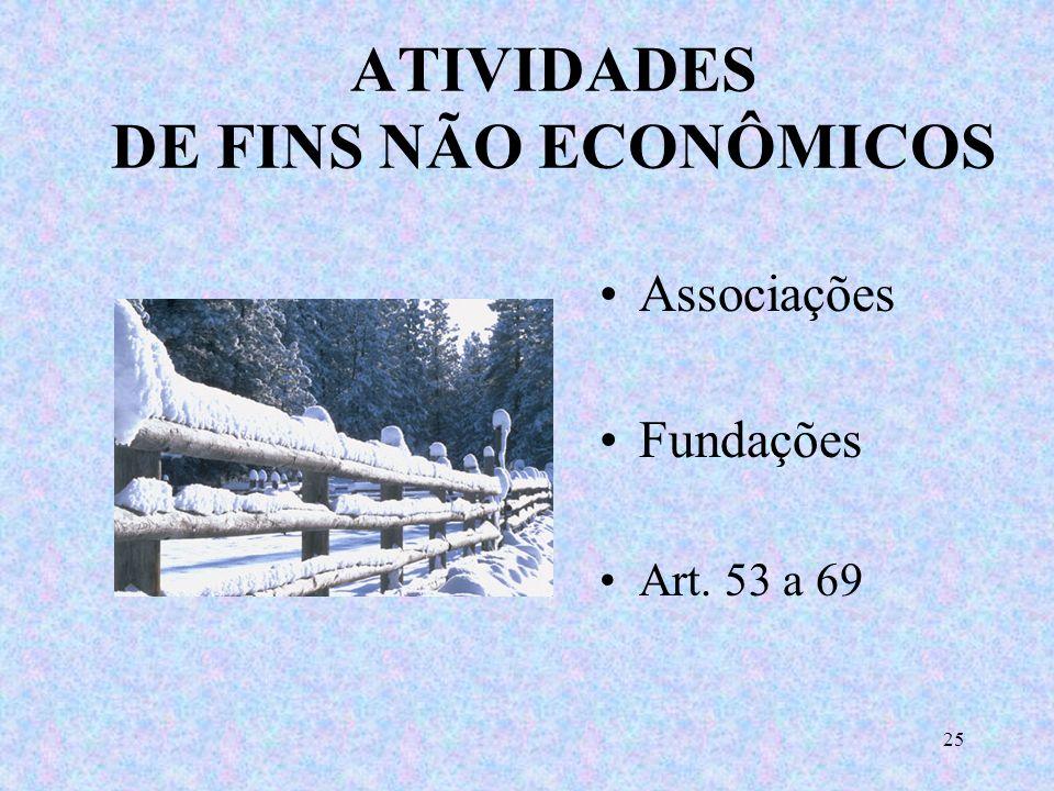 24 ATIVIDADES DE FINS ECONÔMICOS Empresário individual Sociedade empresária Sociedade simples