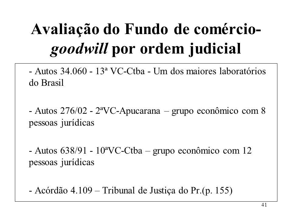 40 Fundo de comércio-goodwill e o fluxo de caixa descontado Fundo de Comércio bem e ativo excesso de lucro Fluxo de caixa descontado avalia o negócio