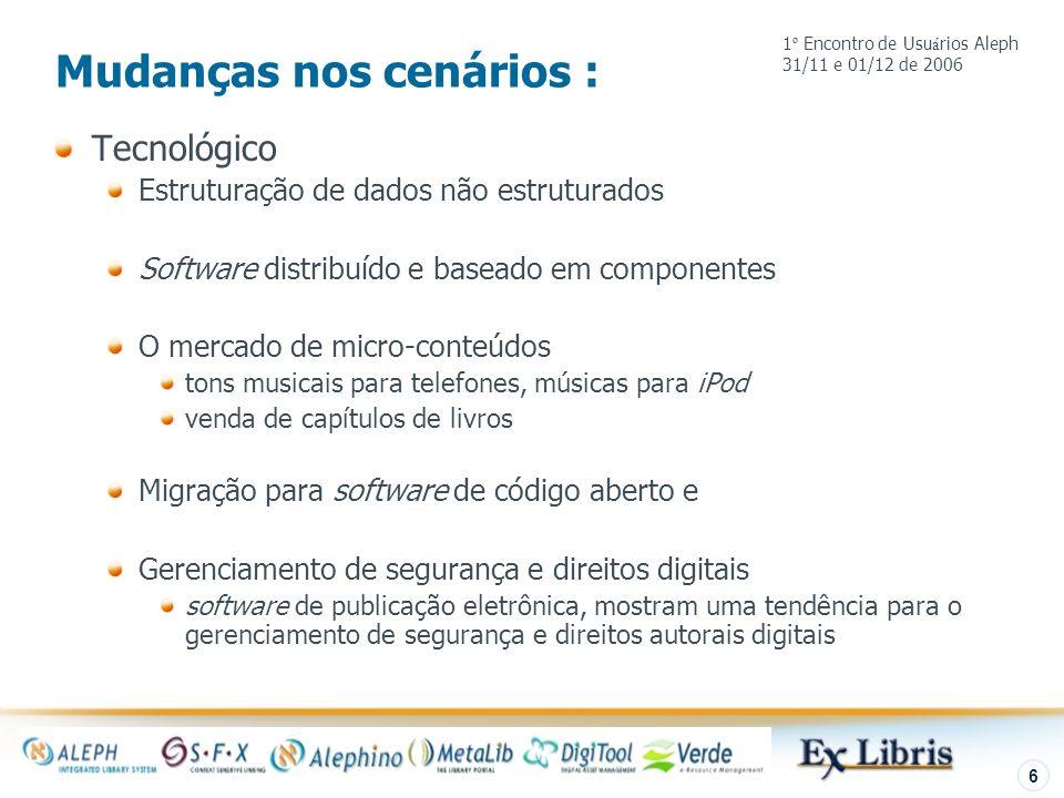 Introdução 6 Mudanças nos cenários : Tecnológico Estruturação de dados não estruturados Software distribuído e baseado em componentes O mercado de mic