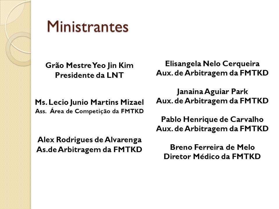 Ministrantes Grão Mestre Yeo Jin Kim Presidente da LNT Ms. Lecio Junio Martins Mizael Ass. Área de Competição da FMTKD Alex Rodrigues de Alvarenga As.