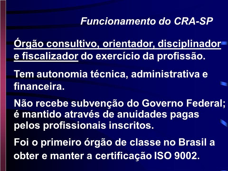 O Conselho Regional de Administração - C.R.A -SP R. Estados Unidos, 889 - São Paulo - S.P. Fone: (011) 3082-7066 - site: www.crasp.com.br