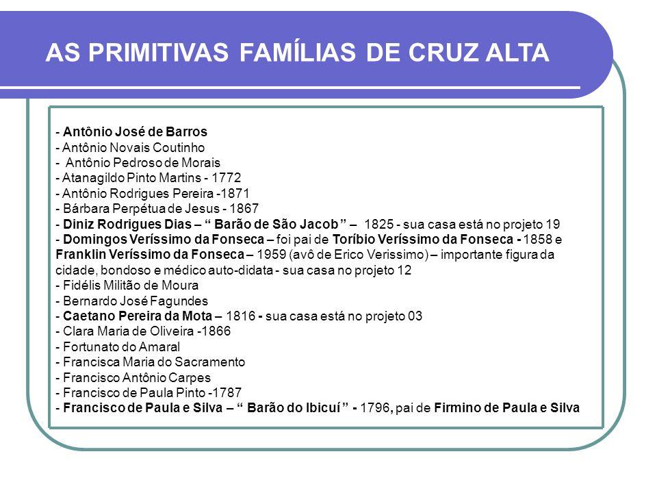AS PRIMITIVAS FAMÍLIAS DE CRUZ ALTA NOMES EM ORDEM ALFABÉTICA Citamos à seguir uma relação de alguns moradores radicados ou nascidos em Cruz Alta nos