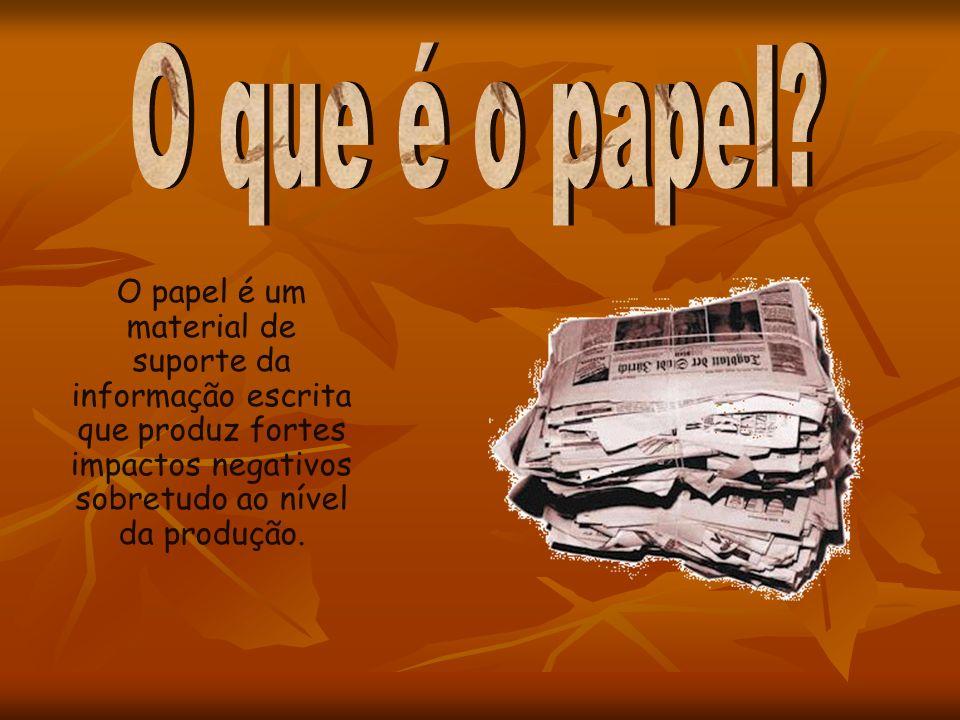 O papel é um material de suporte da informação escrita que produz fortes impactos negativos sobretudo ao nível da produção.