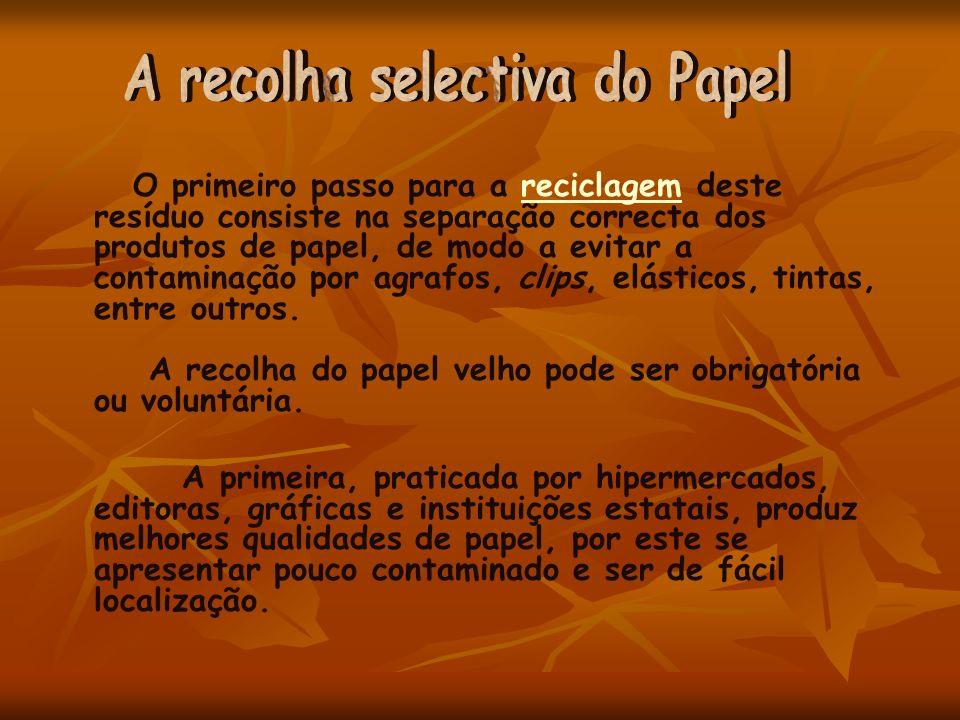 O primeiro passo para a reciclagem deste resíduo consiste na separação correcta dos produtos de papel, de modo a evitar a contaminação por agrafos, cl
