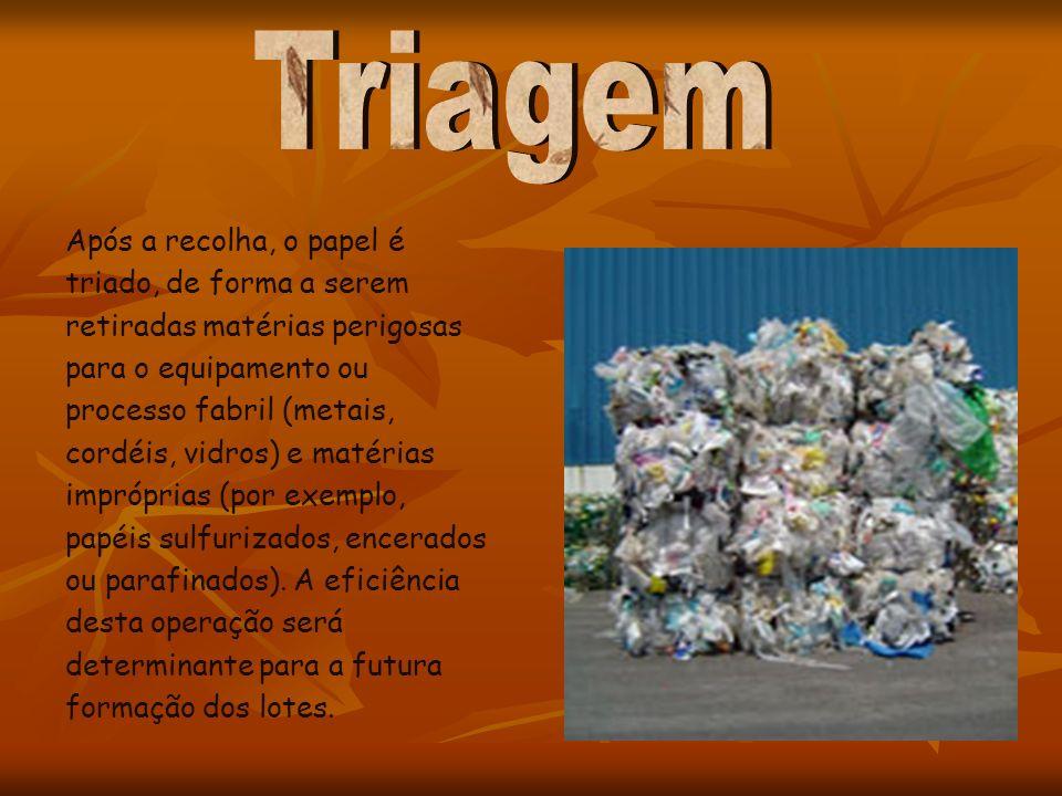 Após a recolha, o papel é triado, de forma a serem retiradas matérias perigosas para o equipamento ou processo fabril (metais, cordéis, vidros) e maté