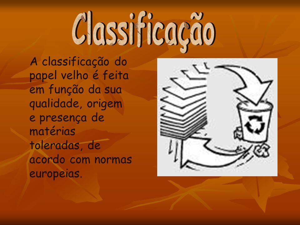 A classificação do papel velho é feita em função da sua qualidade, origem e presença de matérias toleradas, de acordo com normas europeias.