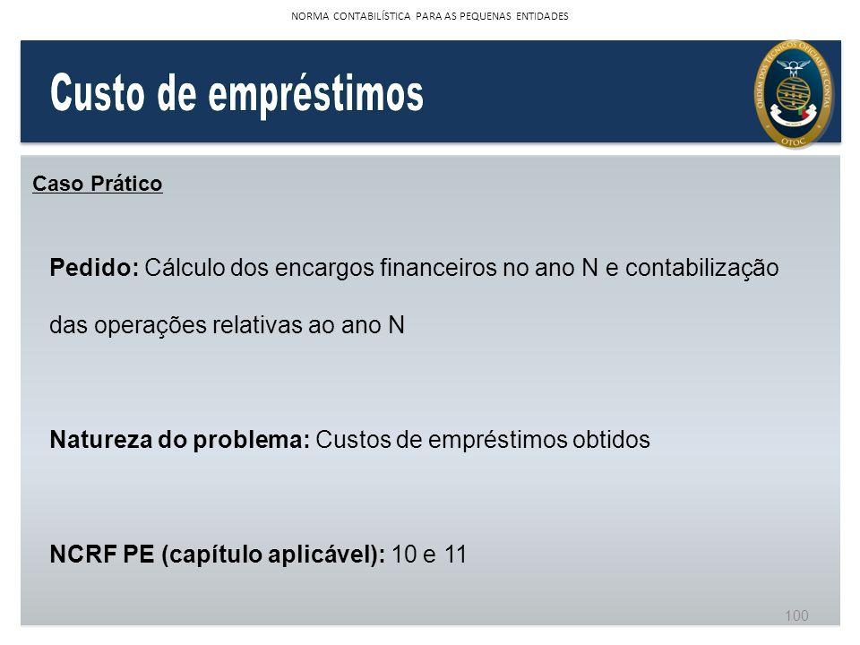 Caso Prático Pedido: Cálculo dos encargos financeiros no ano N e contabilização das operações relativas ao ano N Natureza do problema: Custos de empré