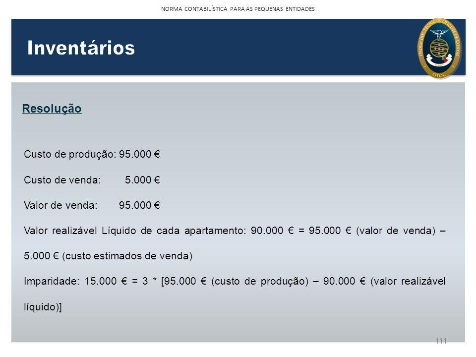 Resolução Custo de produção:95.000 Custo de venda: 5.000 Valor de venda:95.000 Valor realizável Líquido de cada apartamento: 90.000 = 95.000 (valor de