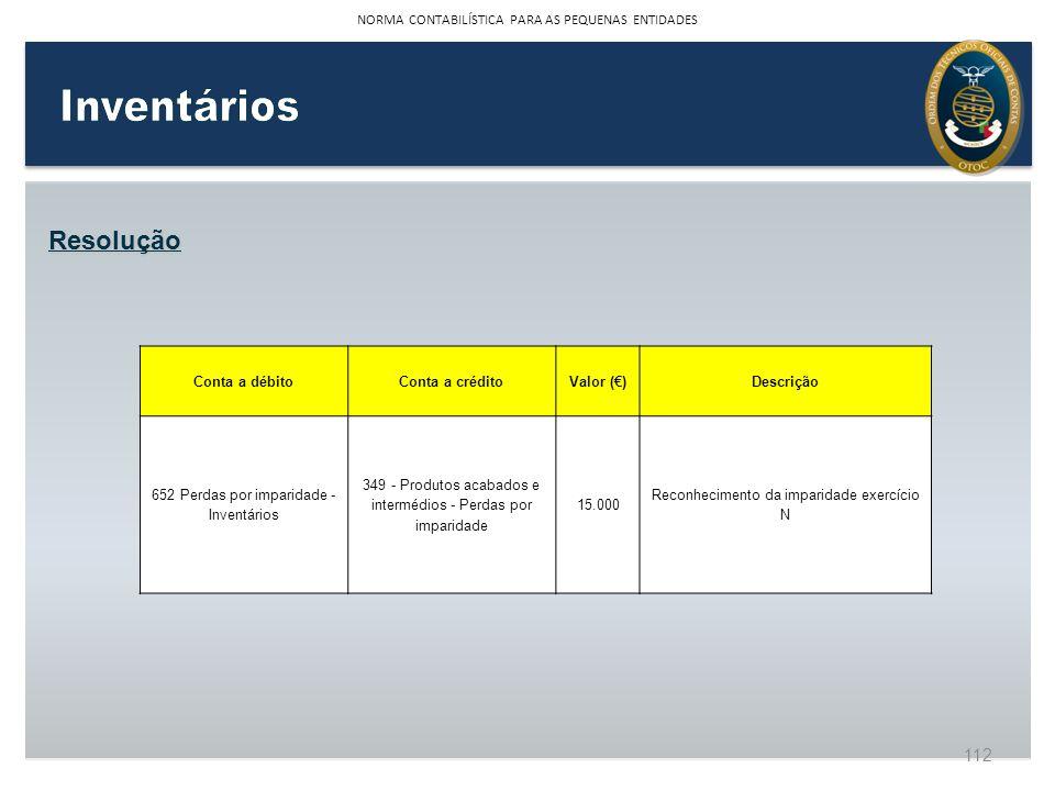 Resolução Conta a débitoConta a créditoValor ()Descrição 652 Perdas por imparidade - Inventários 349 - Produtos acabados e intermédios - Perdas por im