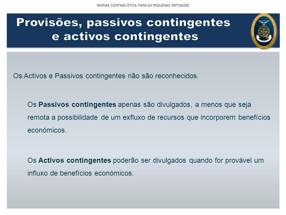 Os Activos e Passivos contingentes não são reconhecidos. Os Passivos contingentes apenas são divulgados, a menos que seja remota a possibilidade de um