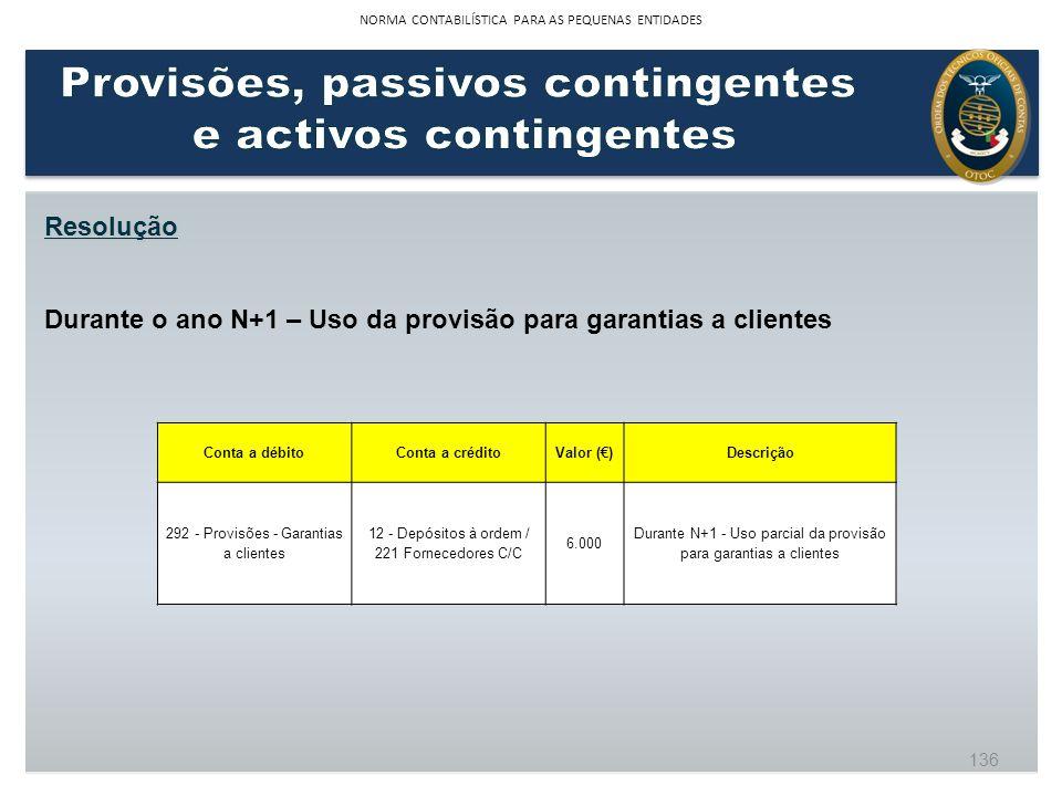 Resolução Durante o ano N+1 – Uso da provisão para garantias a clientes Conta a débitoConta a créditoValor ()Descrição 292 - Provisões - Garantias a c