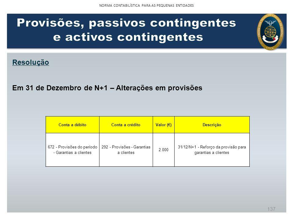 Resolução Em 31 de Dezembro de N+1 – Alterações em provisões Conta a débitoConta a créditoValor ()Descrição 672 - Provisões do período - Garantias a c