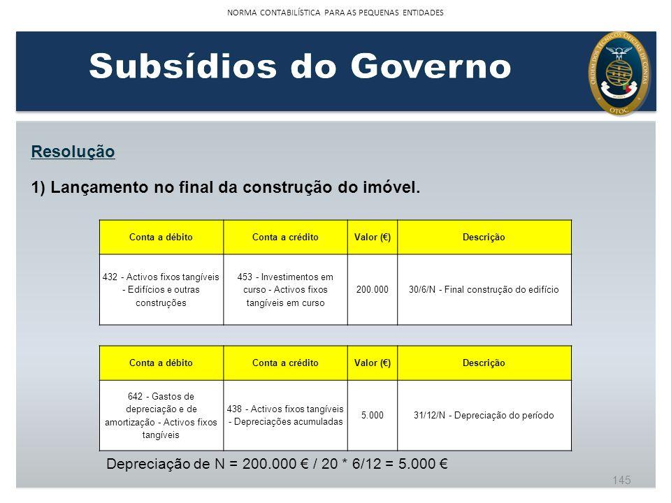 Resolução 1) Lançamento no final da construção do imóvel. Conta a débitoConta a créditoValor ()Descrição 432 - Activos fixos tangíveis - Edifícios e o