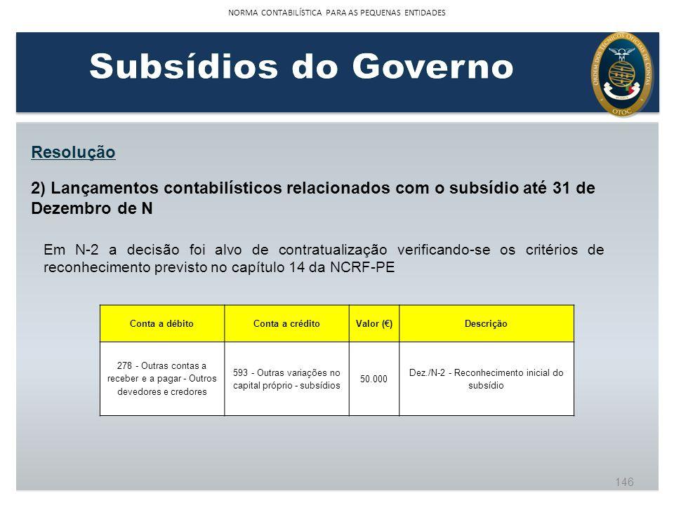 Resolução 2) Lançamentos contabilísticos relacionados com o subsídio até 31 de Dezembro de N Conta a débitoConta a créditoValor ()Descrição 278 - Outr