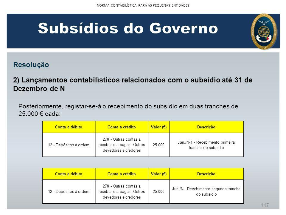 Resolução 2) Lançamentos contabilísticos relacionados com o subsídio até 31 de Dezembro de N Posteriormente, registar-se-á o recebimento do subsídio e
