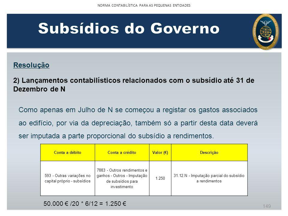 Resolução 2) Lançamentos contabilísticos relacionados com o subsídio até 31 de Dezembro de N Como apenas em Julho de N se começou a registar os gastos