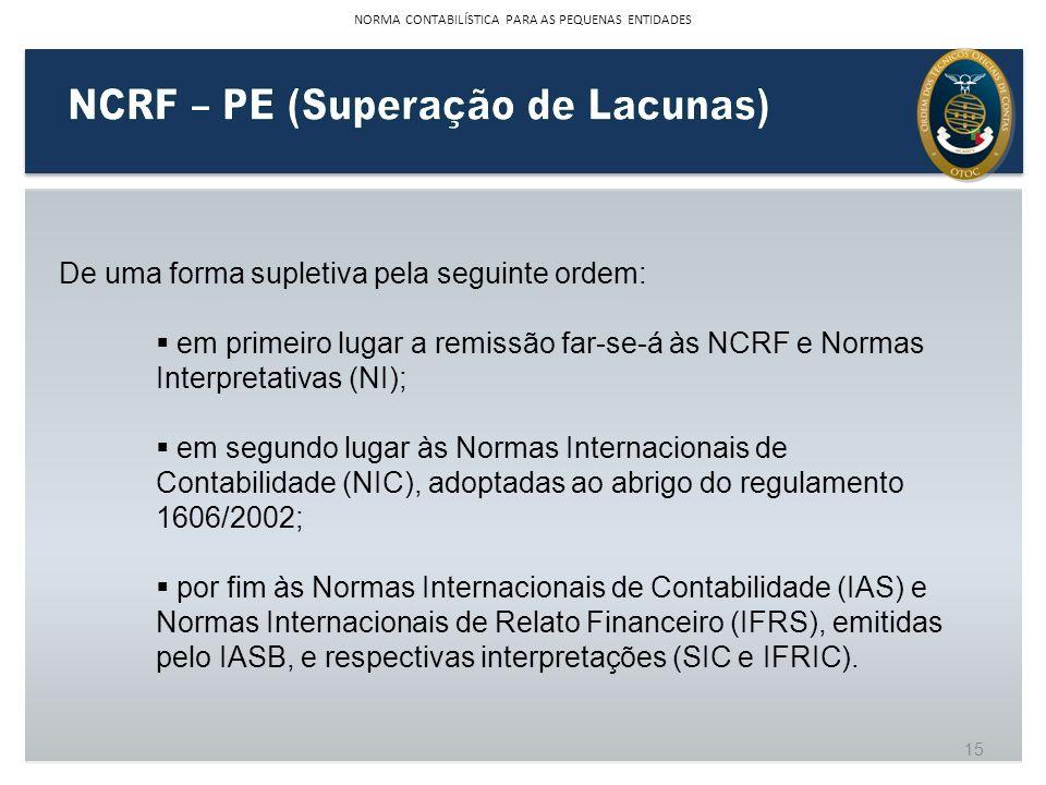 De uma forma supletiva pela seguinte ordem: em primeiro lugar a remissão far-se-á às NCRF e Normas Interpretativas (NI); em segundo lugar às Normas In