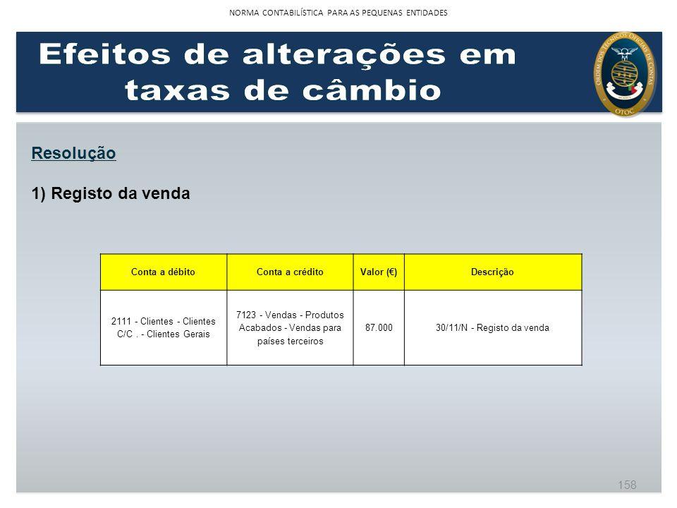 1) Registo da venda Resolução Conta a débitoConta a créditoValor ()Descrição 2111 - Clientes - Clientes C/C. - Clientes Gerais 7123 - Vendas - Produto