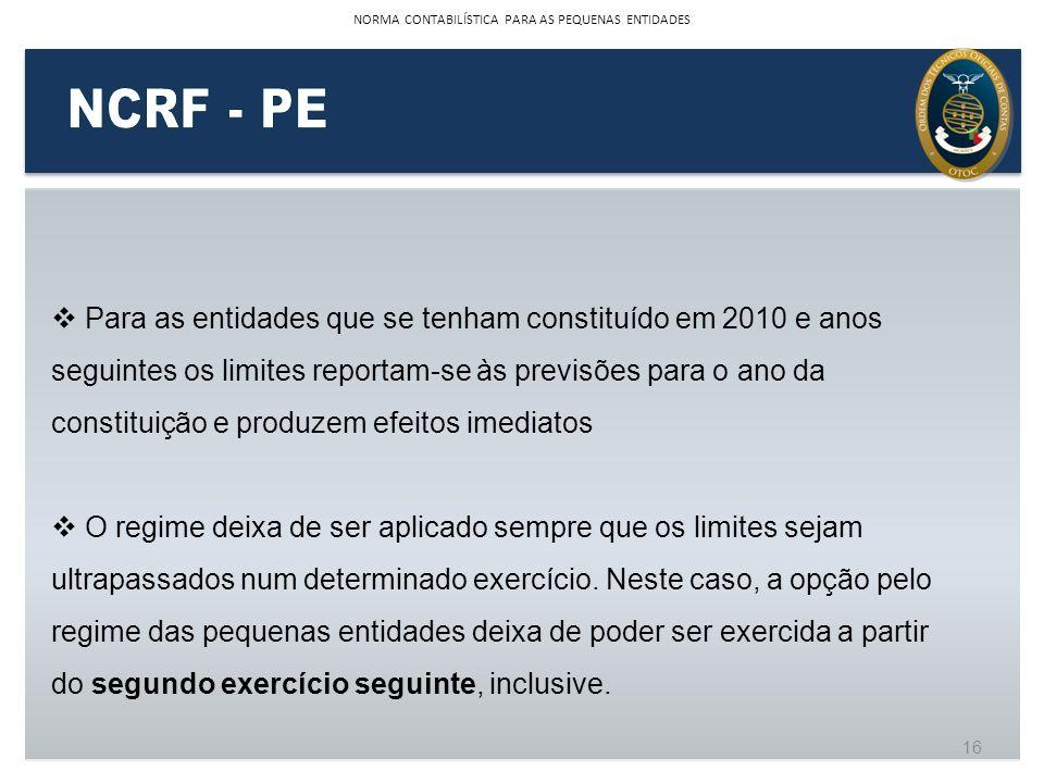 Para as entidades que se tenham constituído em 2010 e anos seguintes os limites reportam-se às previsões para o ano da constituição e produzem efeitos