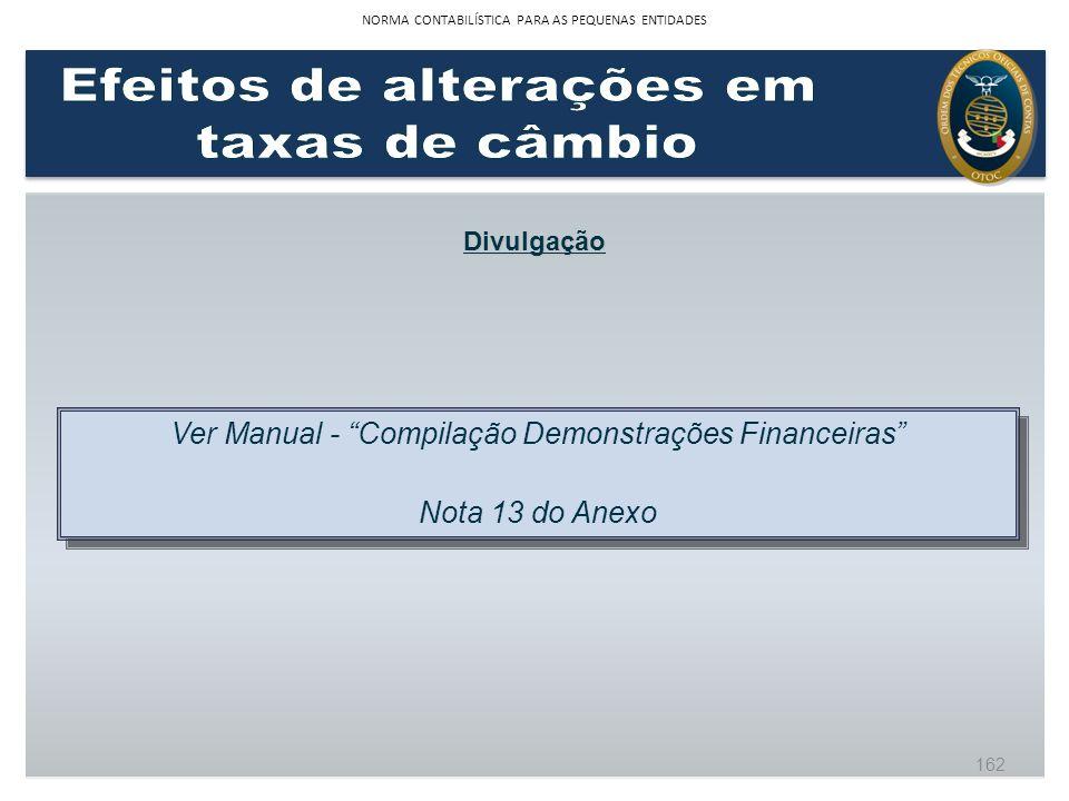 Divulgação Ver Manual - Compilação Demonstrações Financeiras Nota 13 do Anexo Ver Manual - Compilação Demonstrações Financeiras Nota 13 do Anexo 162 N