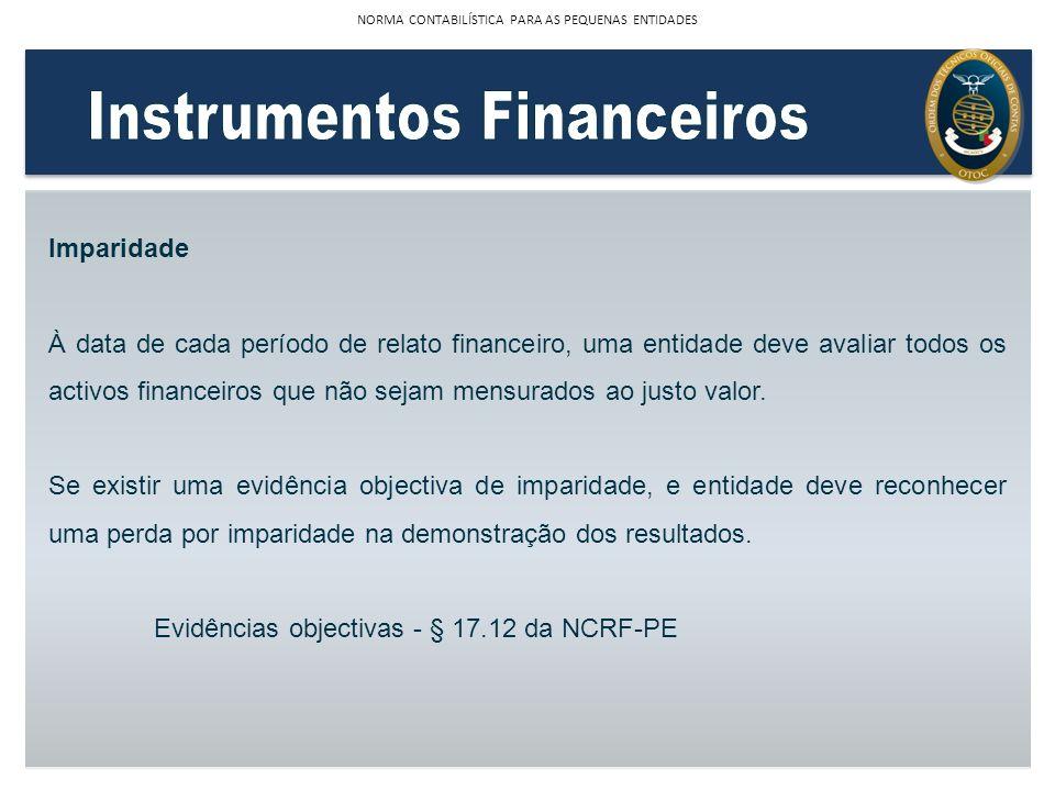 Imparidade À data de cada período de relato financeiro, uma entidade deve avaliar todos os activos financeiros que não sejam mensurados ao justo valor