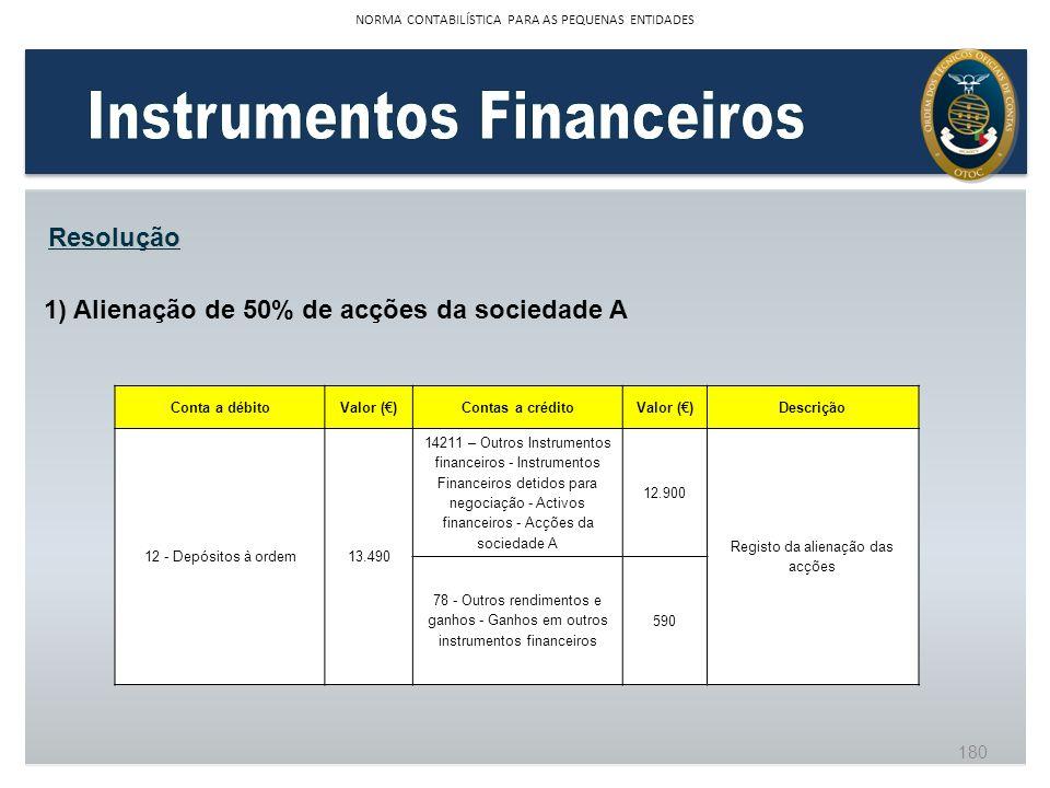 1) Alienação de 50% de acções da sociedade A Resolução Conta a débitoValor ()Contas a créditoValor ()Descrição 12 - Depósitos à ordem13.490 14211 – Ou