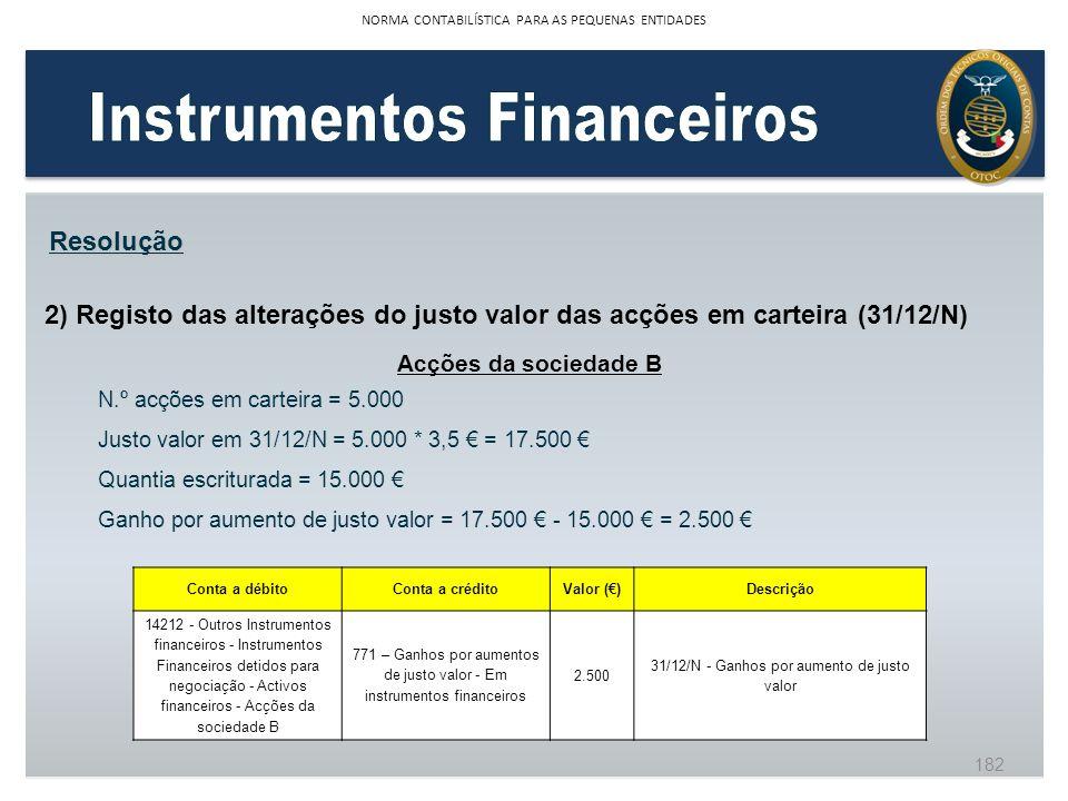 2) Registo das alterações do justo valor das acções em carteira (31/12/N) Resolução Acções da sociedade B N.º acções em carteira = 5.000 Justo valor e