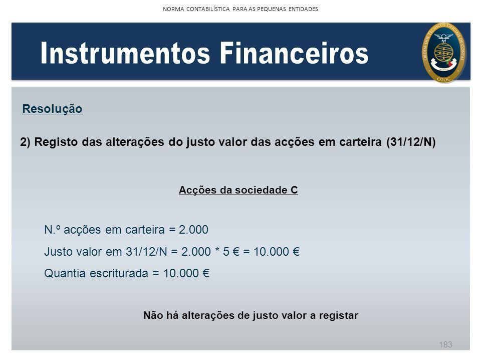 2) Registo das alterações do justo valor das acções em carteira (31/12/N) Resolução Acções da sociedade C N.º acções em carteira = 2.000 Justo valor e