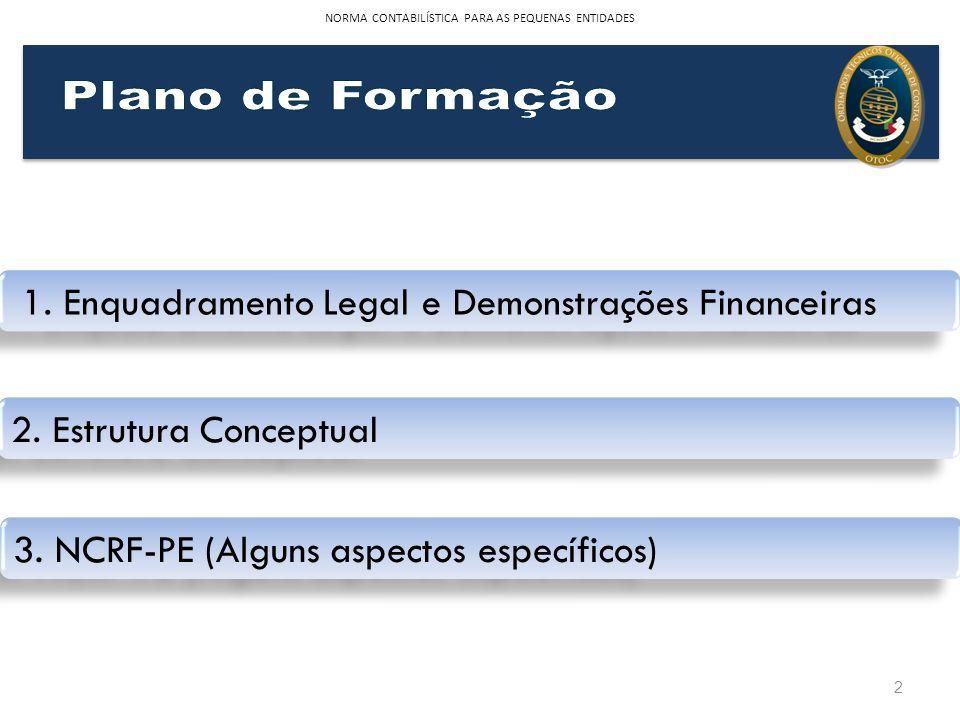 NORMA CONTABILÍSTICA PARA AS PEQUENAS ENTIDADES 2 1. Enquadramento Legal e Demonstrações Financeiras 2. Estrutura Conceptual 3. NCRF-PE (Alguns aspect