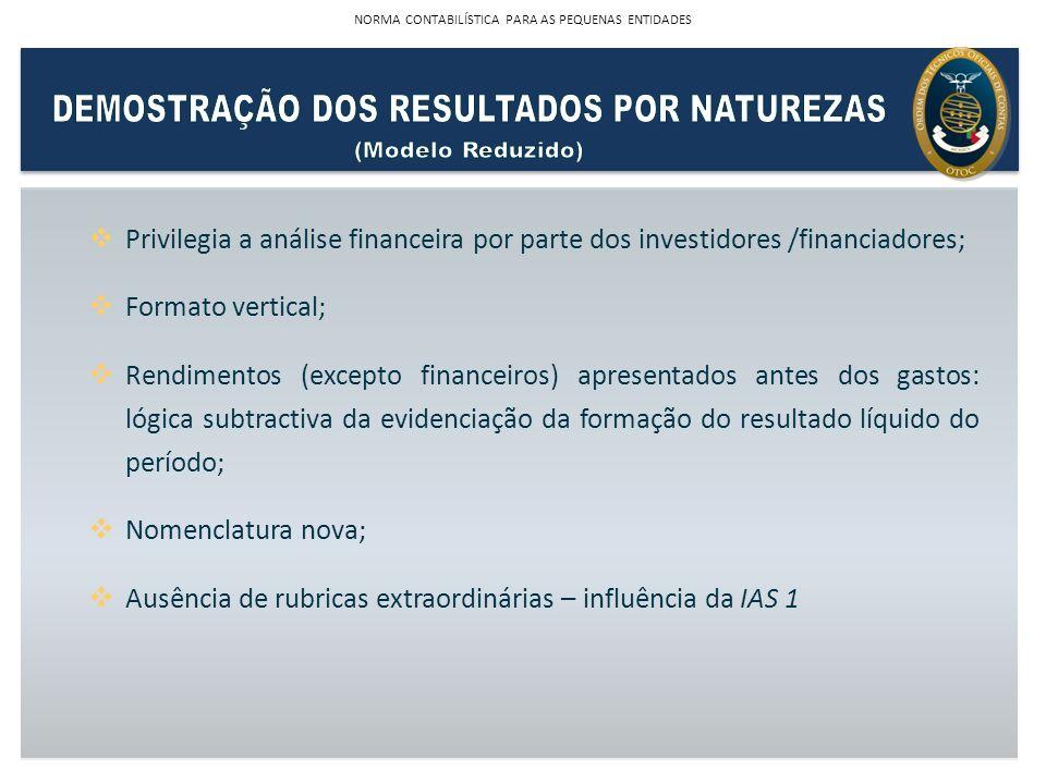 Privilegia a análise financeira por parte dos investidores /financiadores; Formato vertical; Rendimentos (excepto financeiros) apresentados antes dos