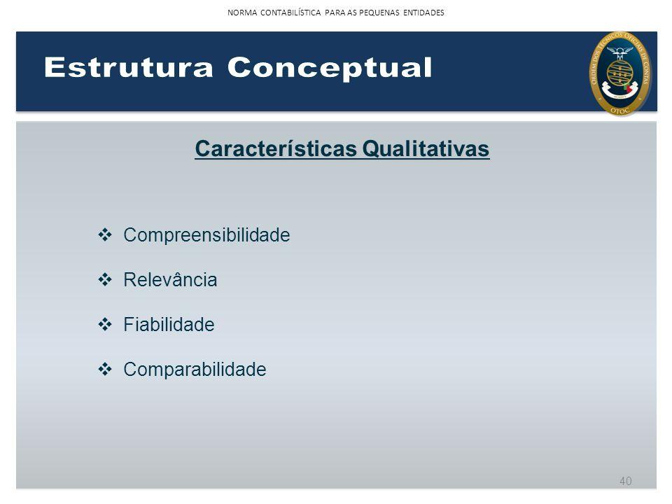 Características Qualitativas Compreensibilidade Relevância Fiabilidade Comparabilidade 40 NORMA CONTABILÍSTICA PARA AS PEQUENAS ENTIDADES