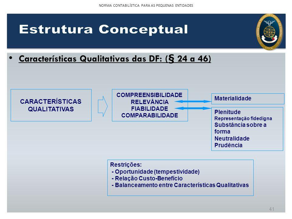 41 NORMA CONTABILÍSTICA PARA AS PEQUENAS ENTIDADES Características Qualitativas das DF: ( § 24 a 46) CARACTERÍSTICAS QUALITATIVAS COMPREENSIBILIDADE R