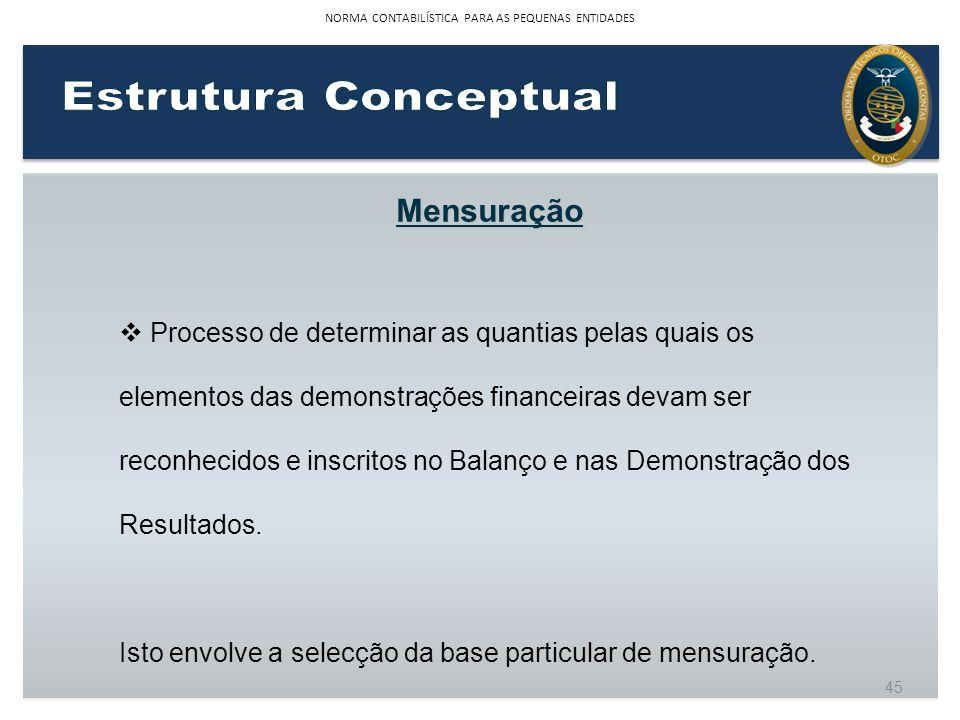 Mensuração Processo de determinar as quantias pelas quais os elementos das demonstrações financeiras devam ser reconhecidos e inscritos no Balanço e n