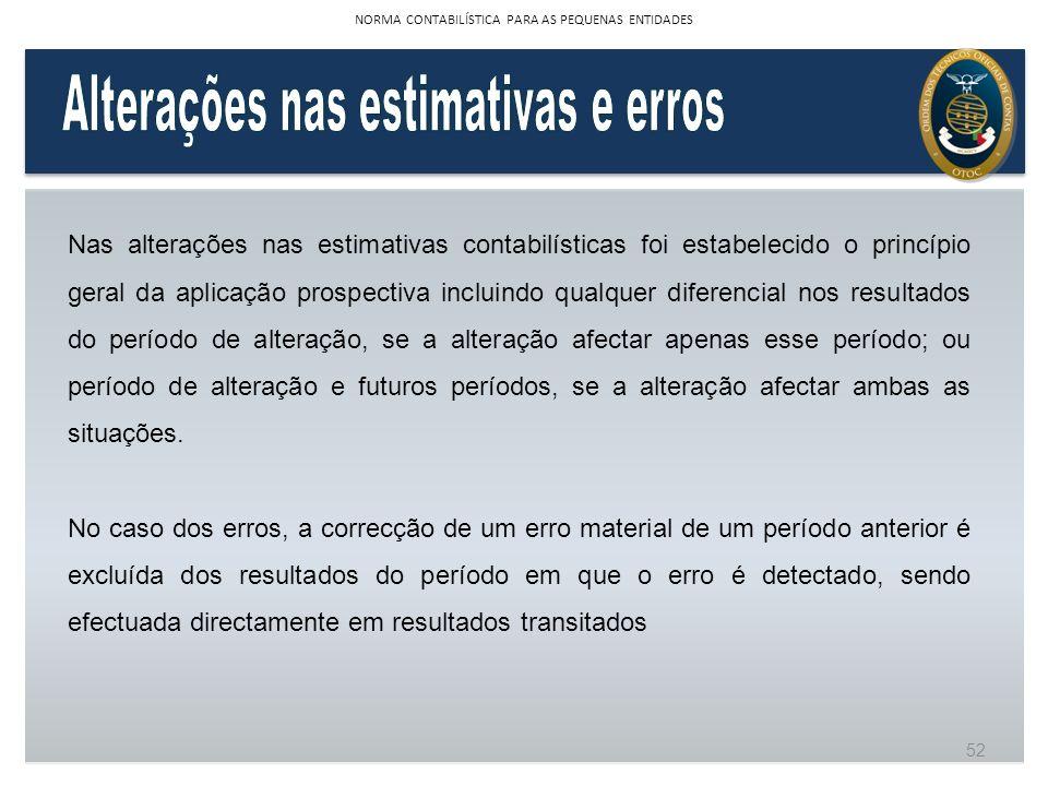 Nas alterações nas estimativas contabilísticas foi estabelecido o princípio geral da aplicação prospectiva incluindo qualquer diferencial nos resultad
