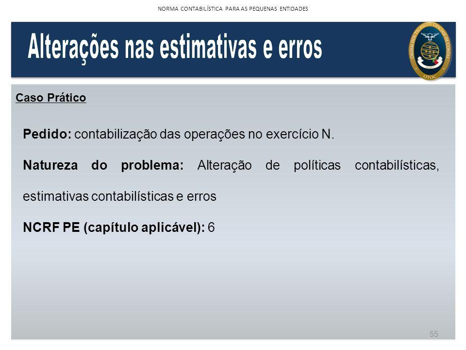 Caso Prático Pedido: contabilização das operações no exercício N. Natureza do problema: Alteração de políticas contabilísticas, estimativas contabilís