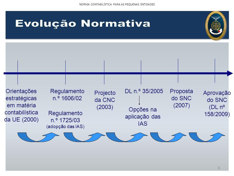 6 Regulamento n.º 1606/02 Orientações estratégicas em matéria contabilística da UE (2000) Projecto da CNC (2003) DL n.º 35/2005Proposta do SNC (2007)