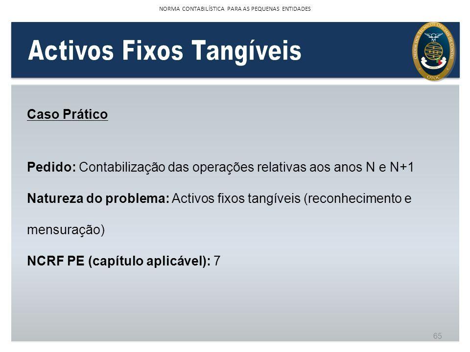 Caso Prático Pedido: Contabilização das operações relativas aos anos N e N+1 Natureza do problema: Activos fixos tangíveis (reconhecimento e mensuraçã