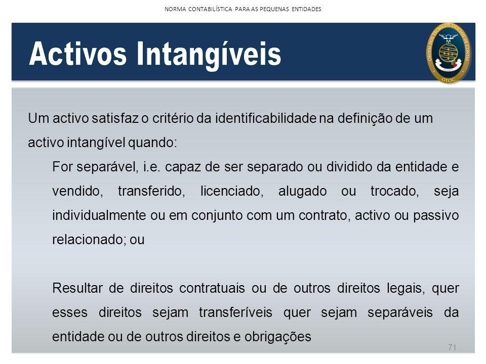 Um activo satisfaz o critério da identificabilidade na definição de um activo intangível quando: For separável, i.e. capaz de ser separado ou dividido