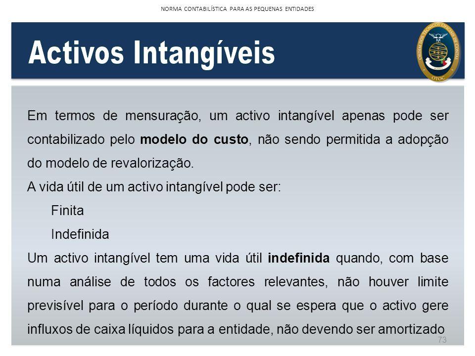 Em termos de mensuração, um activo intangível apenas pode ser contabilizado pelo modelo do custo, não sendo permitida a adopção do modelo de revaloriz