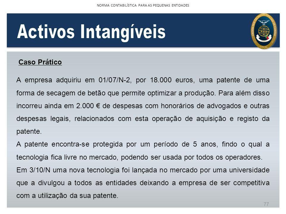 Caso Prático A empresa adquiriu em 01/07/N-2, por 18.000 euros, uma patente de uma forma de secagem de betão que permite optimizar a produção. Para al