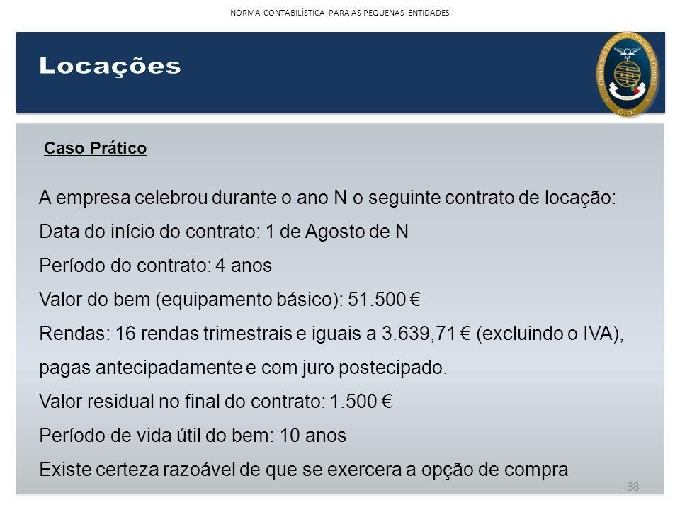 Caso Prático A empresa celebrou durante o ano N o seguinte contrato de locação: Data do início do contrato: 1 de Agosto de N Período do contrato: 4 an