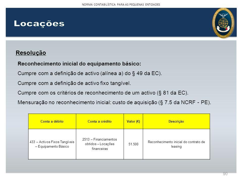Resolução Reconhecimento inicial do equipamento básico: Cumpre com a definição de activo (alínea a) do § 49 da EC). Cumpre com a definição de activo f