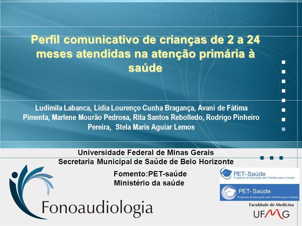 Perfil comunicativo de crianças de 2 a 24 meses atendidas na atenção primária à saúde Ludimila Labanca, Lidia Lourenço Cunha Bragança, Avani de Fátima