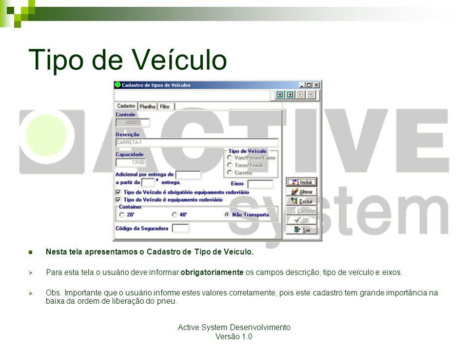 Active System Desenvolvimento Versão 1.0 Tipo de Veículo Nesta tela apresentamos o Cadastro de Tipo de Veículo. Para esta tela o usuário deve informar