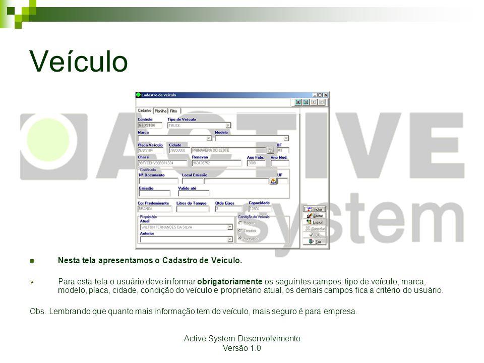 Active System Desenvolvimento Versão 1.0 Veículo Nesta tela apresentamos o Cadastro de Veículo. Para esta tela o usuário deve informar obrigatoriament