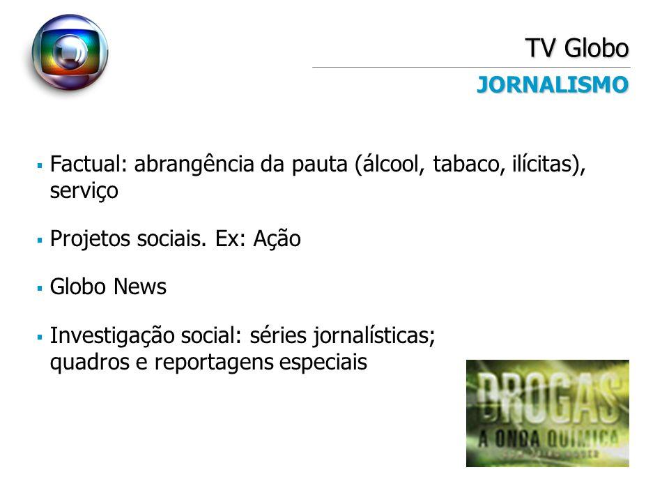TV Globo JORNALISMO Factual: abrangência da pauta (álcool, tabaco, ilícitas), serviço Projetos sociais. Ex: Ação Globo News Investigação social: série