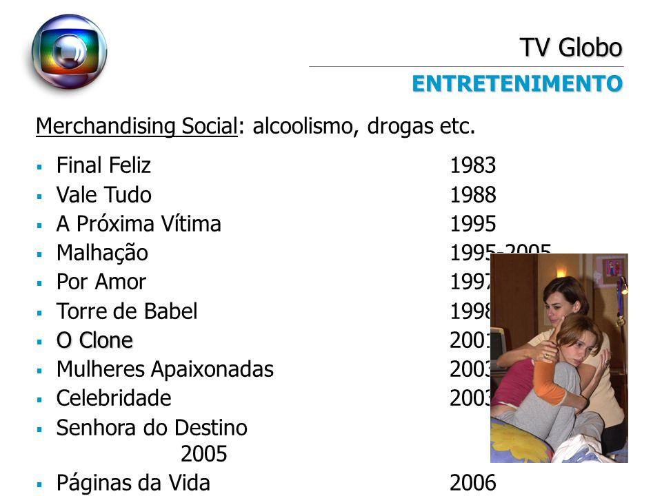 TV Globo ENTRETENIMENTO Merchandising Social: alcoolismo, drogas etc. Final Feliz1983 Vale Tudo1988 A Próxima Vítima1995 Malhação 1995-2005 Por Amor19
